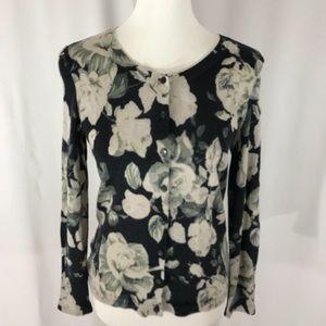 Talbots Black Floral Cardigan